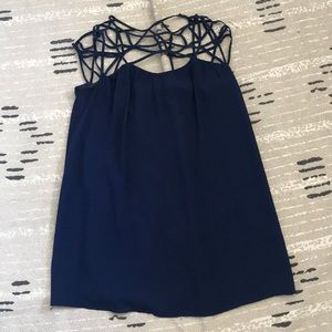 navy blue chiffon mini dress
